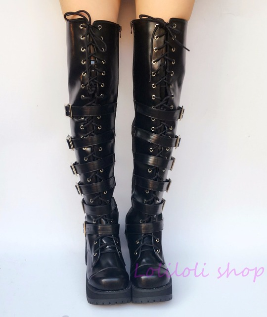 Princess Gothic lolita shoes Japanese design customized special shaped big size black matte belt buckle high boots an5151