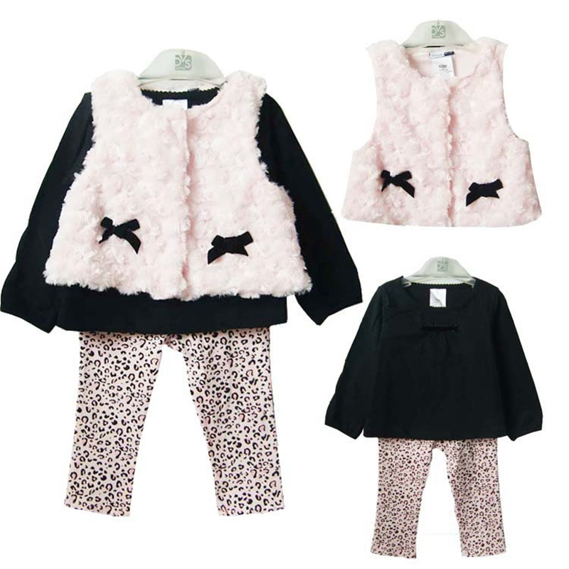 Spring Fall Baby Girl Clothing Set 3 PCS Cotton Sets Plush Vest +T-shirt+Leggings Bebe Casual Leopard Floral Lace Infant Clothes baby s cute floral pattern two way pur cotton spring fall cloak w hood deep blue