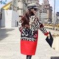 2016 Женщин Шерстяное Пальто Письмо Печати С Длинным Зимой Шерстяные пальто Красный Черный Мода Повседневная Шерсть Peacoats