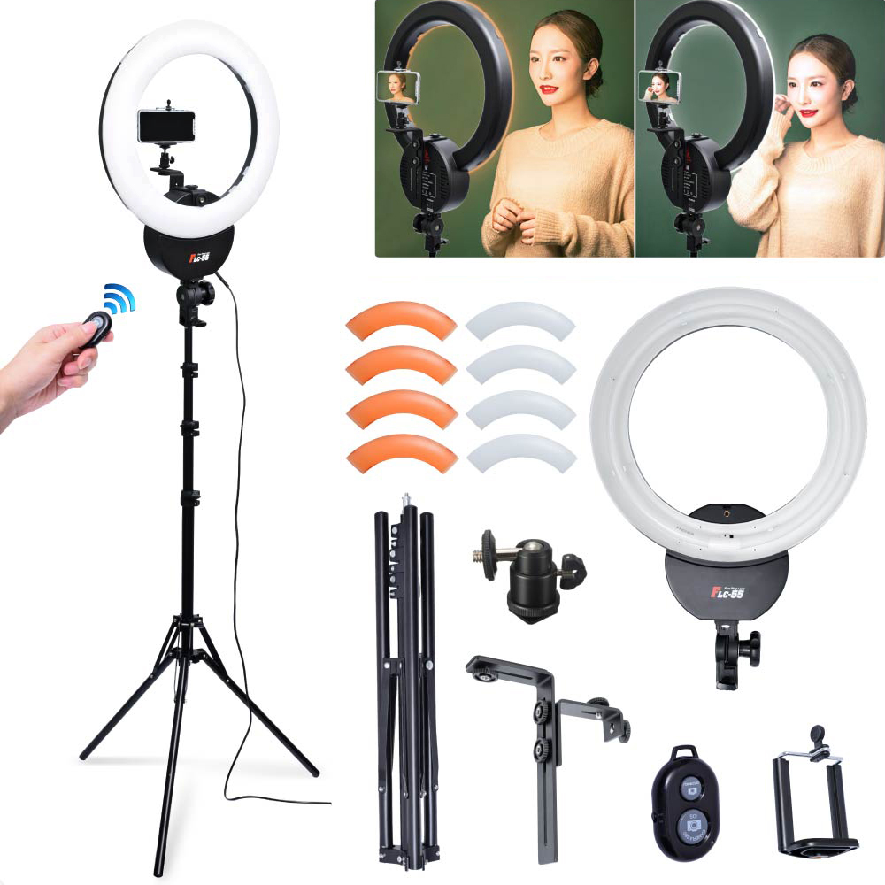 Falconeyes FLC-55 55W 1642cm 5600K Ring Light w/ Stand Filter Camera Phone Clamp Kit for Portrait Make Up Video Photo Selfie