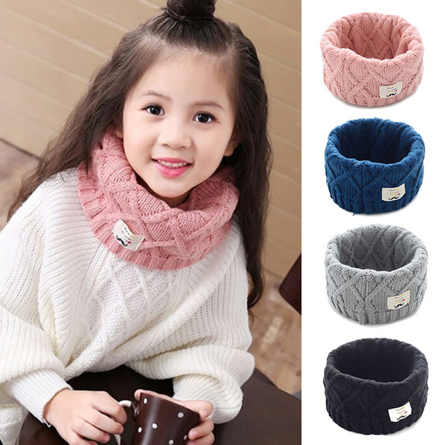 Winter Spring Autumn Cotton Baby Scarf Children Girls Boys Kintted Wool O-Scarves Chidren Outing Protect Kint Solid Color