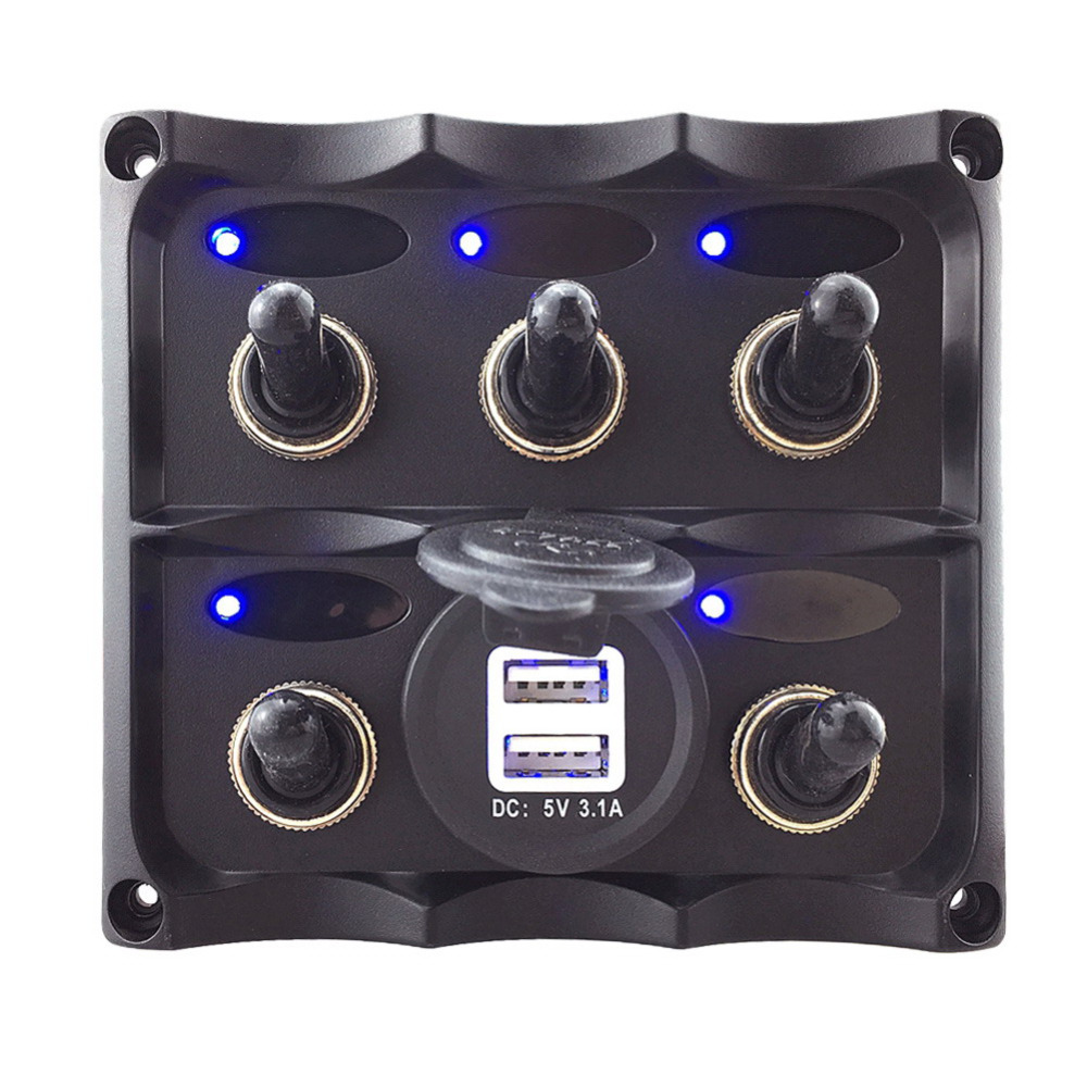 Marine Grade Boat 5 Gang Toggle Switch Panel With Dual USB