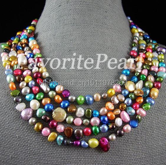 Pearl Necklace 100 Inches 4 9mm Rainbow Color Genuine Freshwater Pearl Long Necklace Fashion Lady s