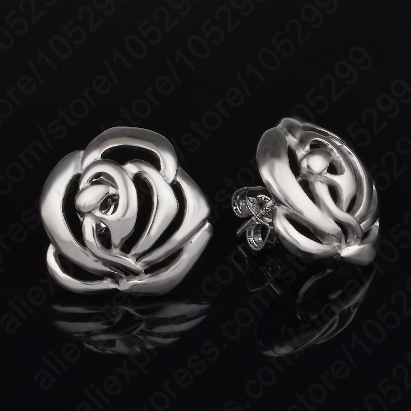 JEXXI New Fashion Solid Pure 925 Sterling Silver Grace Flower Elegant Lady Woman Stud Earrings Hot Sale Jewelry Free Shipping ...