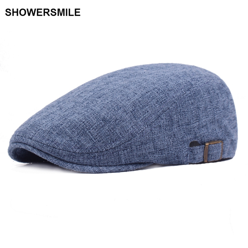330f86f26 US $8.82 58% OFF|SHOWERSMILE Brand Navy Blue Linen Flat Cap British Casual  Autumn Men Caps Beret For Women Vintage French Hats And Caps Chapeau-in ...