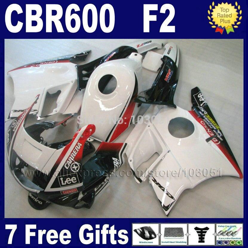 Motorcycle fullset fairings set for Honda white 1993 1994 CBR 600 F2 1991 1992 CBR600 91 92 93 94 F2 CBR600 F fairing kits+ tank