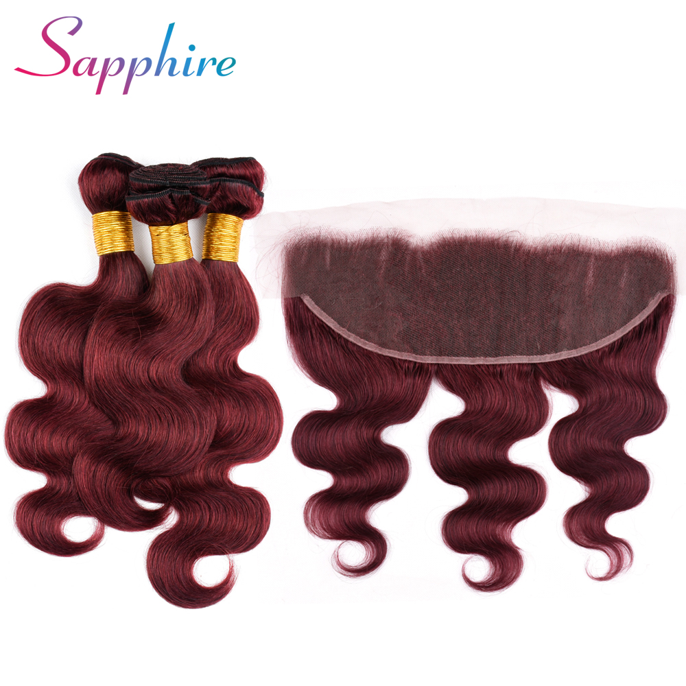 Sapphire Brazilian Pre -colored 3 Bundles With Frontal Human Hair 99J Color Body Wave 3 Bundles with 13*4 Lace Closure
