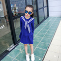 Spring and Summer Preppy Style Kids Children Clothing Removable Sailor Collar Girls Dress Full Sleeves Dresses for 4-14Ys Child