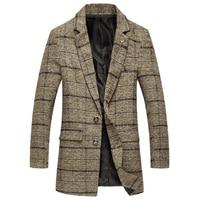 New Arrival Brand Clothing long woollen coat Plaid Suit Jacket Mens Blazer Fashion Slim Male Casual Blazers Men Khaki Size M 5XL