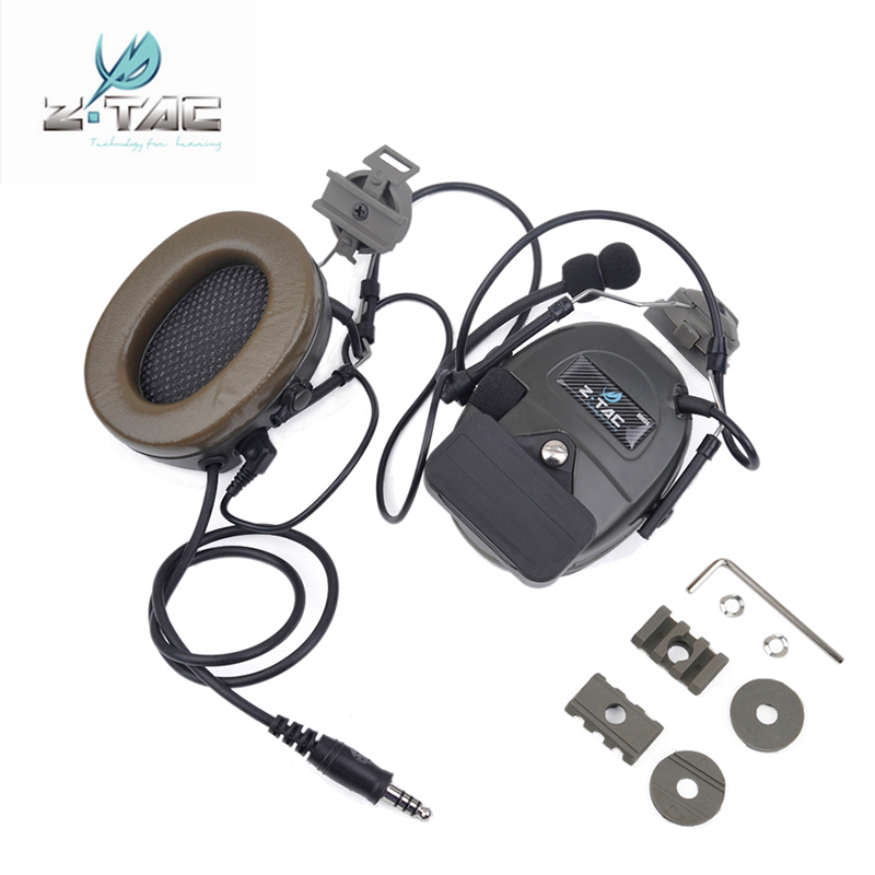 Z Tactical Z032 Comtac I Noise Reduction Headset With Peltor Helmet Rail Adapter Set For FAST Helmets Military Airsoft Headphone