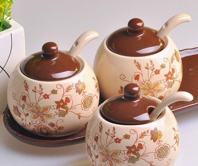Free Shipping Dark color ceramic spice jar set storage tank seasoning bottle piece set