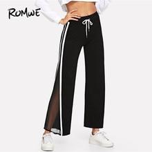 e91272615fa ROMWE Black Contrast Taped Side Pants Female Casual 2019 Autumn Drawstring  Waist Straight Leg Sweatpants Spring