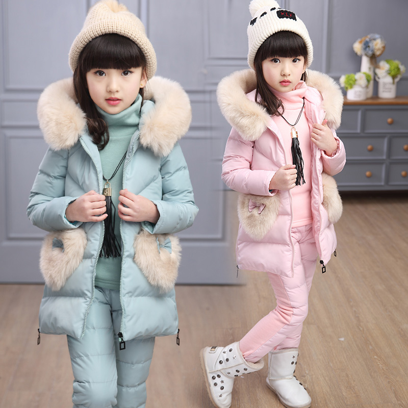 Girls Winter Cotton Padded Clothes 3 Pcs Set 2018 Children's Love Heart Spliced Outfit Kids Hooded Waistcoat + Tops + Pants X279 drawstring spliced camo jogger pants