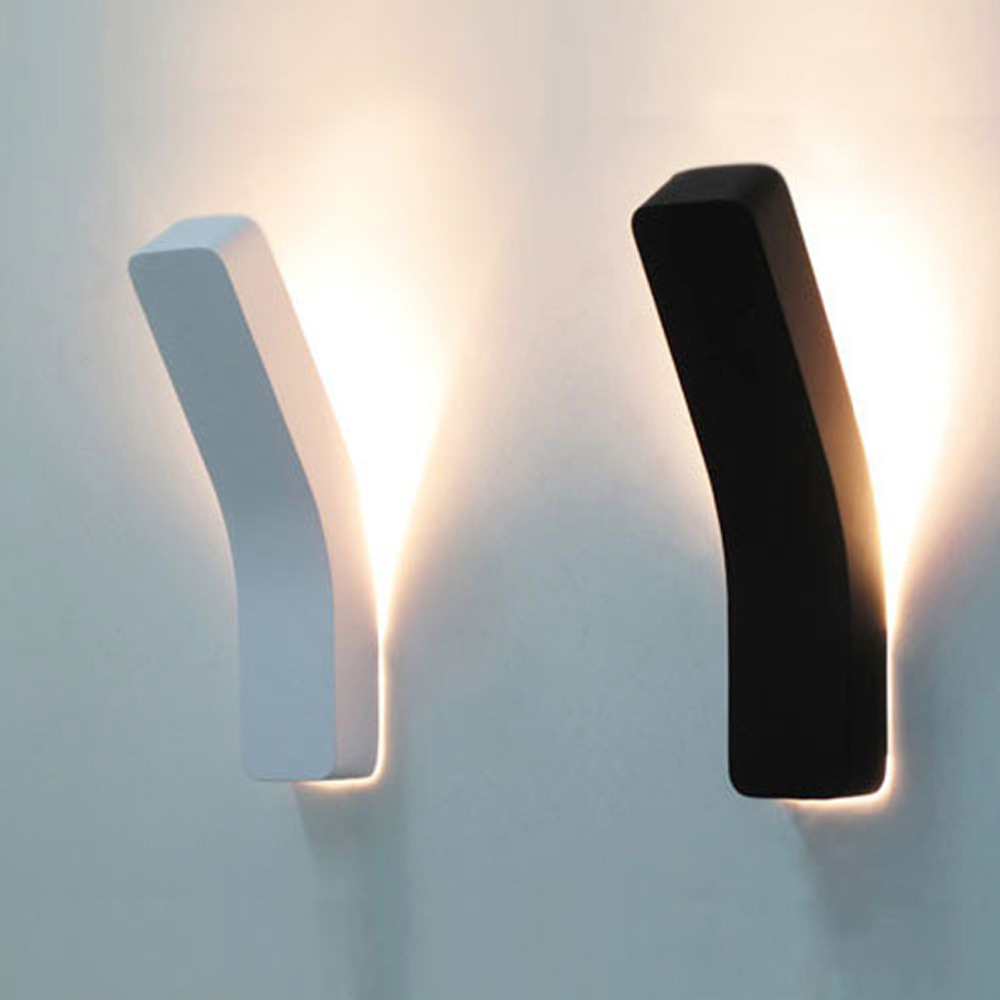 Modern bedside wall lamps - Fashion Nordic Brief White Black Modern Wall Light Bending Cuboid Wall Sconces For Bar