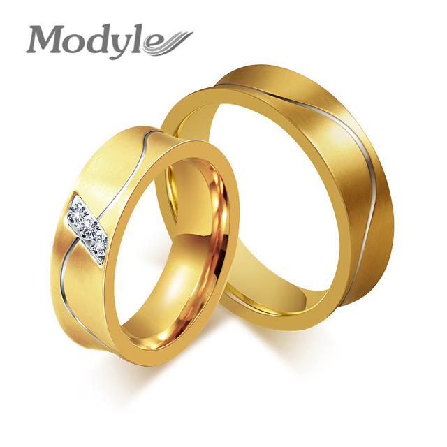 Modyle New Wedding Ring For Women Men Gold Color Aaa Cz Engagement