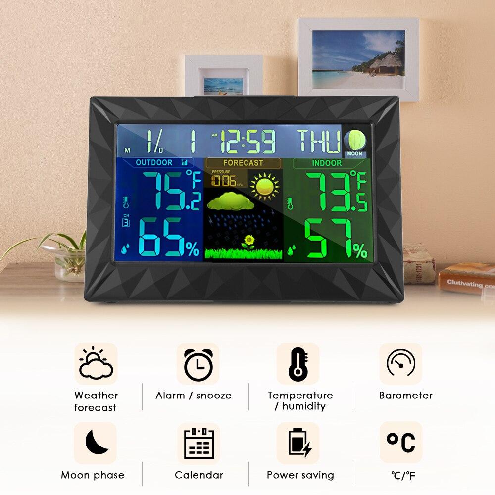 Wireless Stazione Meteo di Colore In/Outdoor Previsioni di Umidità di Temperatura di Allarme E Snooze Termometro Igrometro TS-Y01