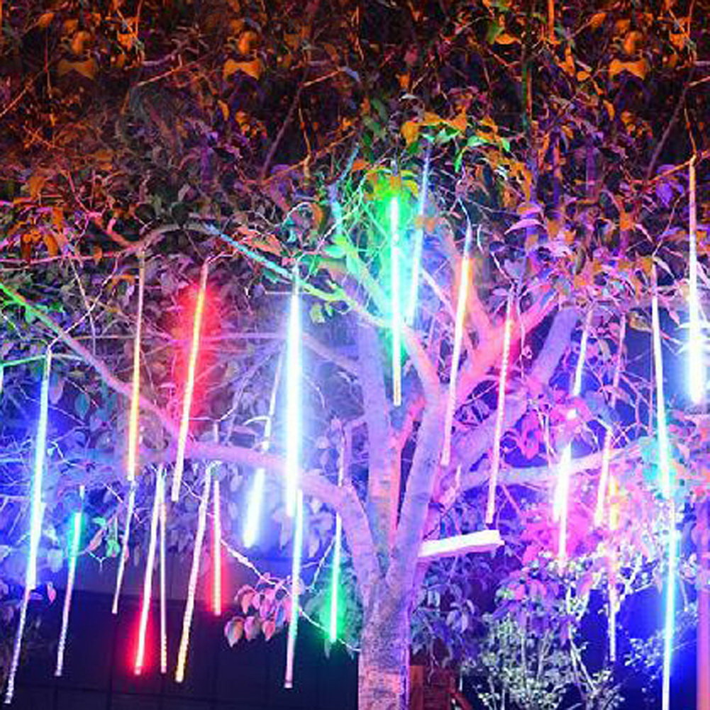 50cm Solar LED Meteor Shower Light Waterproof Lamp Tube Festival Courtyard Tree Hanging Decoration Light #LO