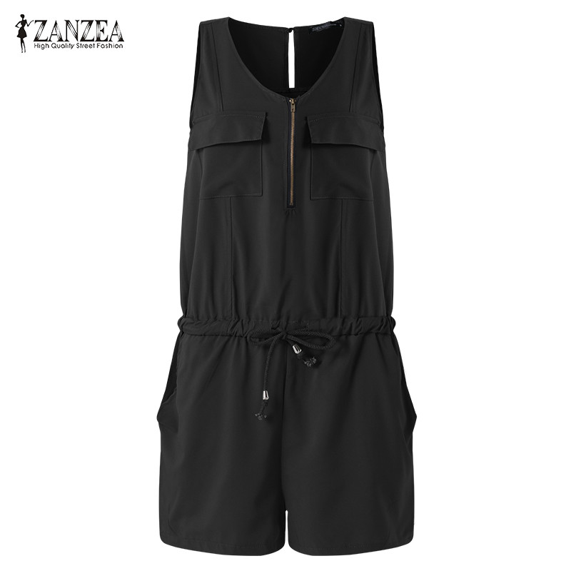 ZANZEA Summer Beach Rompers Womens Jumpsuit Front Zipper Sleeveless Sexy Slim Fit Playsuits Elegant Solid Plus Size Overalls