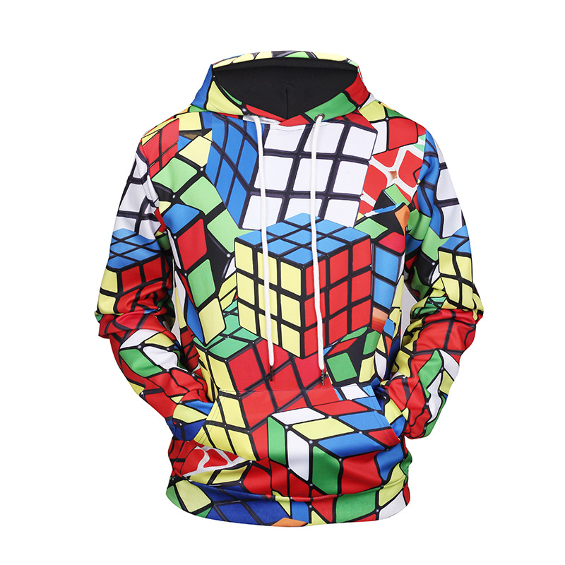 Factoryoutlet Couleur Cube Rubik Cube Peinture Sweat À Capuche Top Mode Sweat À Capuche Sportswear Sweat À Capuche Survêtements Tops Pull