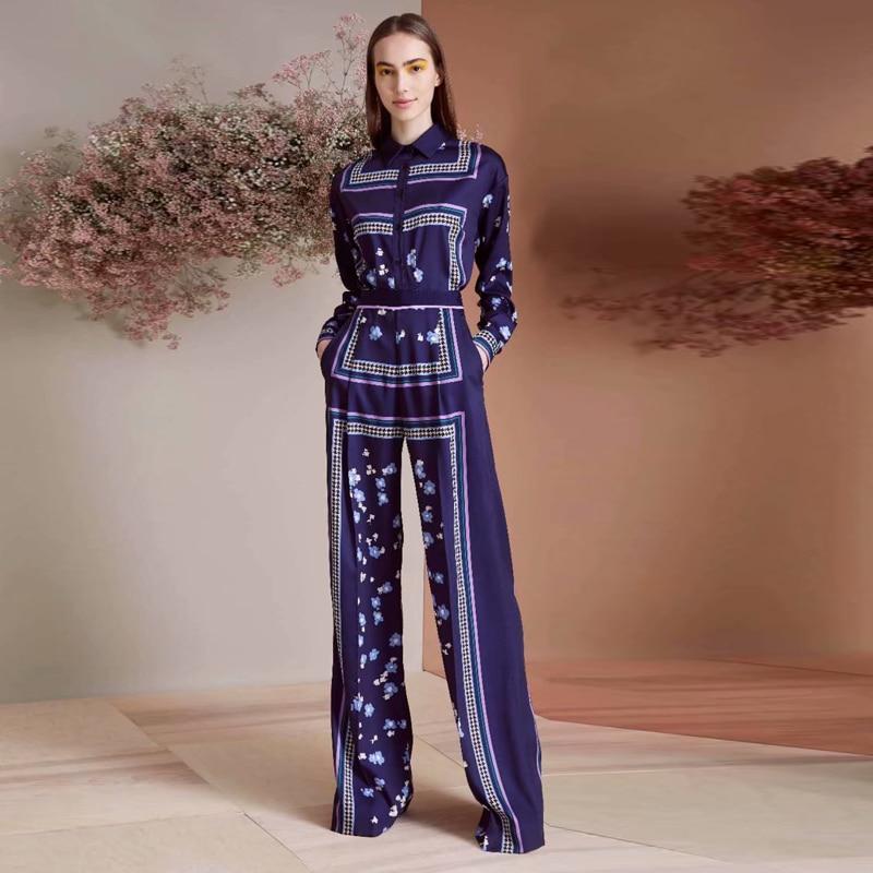 Milan Runway New Fashion High Quality 2019 Summer Party Work Sexy Print Long Sleeve Shirt Loose