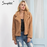 Simplee Faux Lambswool Turn Down Jacket Coat Women Casual Jacket Hairy Overcoat Autumn Winter Long Sleeve