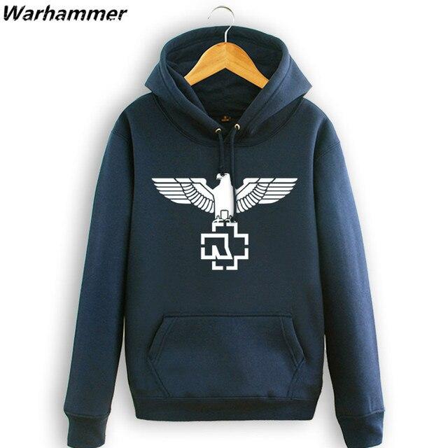 Подросток Европейских Рок стиль капюшоном человека тяжелых металлов капюшоном толстовки Rammstein музыка хип-хоп флис с капюшоном черный темно-синий
