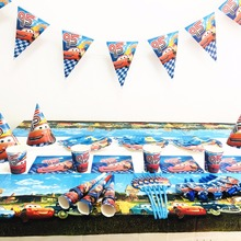82pc  cars Lightning McQueen Party Supplies Set Plate/Cup/Straw/Tablecloth/Cutlery Birthday tableware Decoration