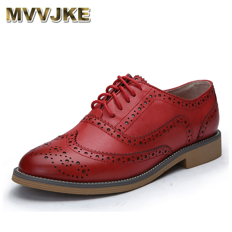 MVVJKE Genuine Leather Shoes Women Brogues Oxfords Flat Heels Round Toe Handmade Women Casual Shoes Plus Size 34-43 цены онлайн