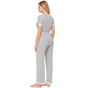 Image 5 - Ekouaer Women Casual Pajamas Set Loose Short Sleeve Sleepwear Lace Patchwork Elastic Waistband Solid Pajamas Set Female Nighties