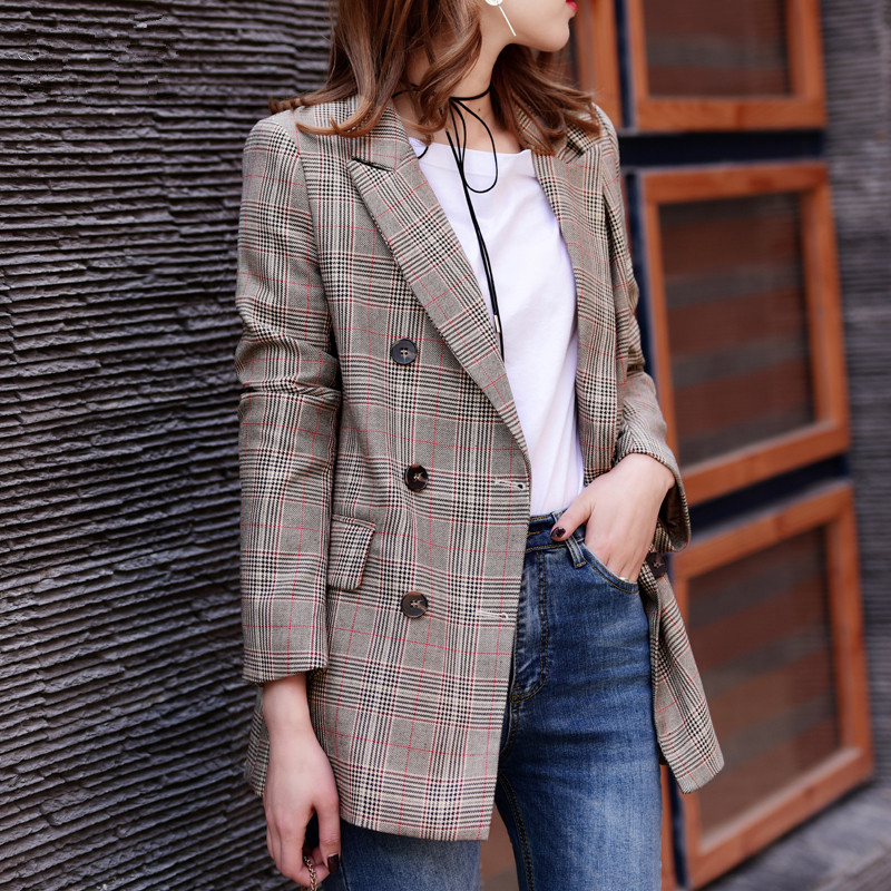 JIAONVWANG Plaid Formal Suits Blazer Long Sleeve Jacket