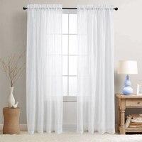 JINCHAN White Sheer Curtains Rod Pocket Drapes Metal Grommet Top Window Treatment Set For Living Room