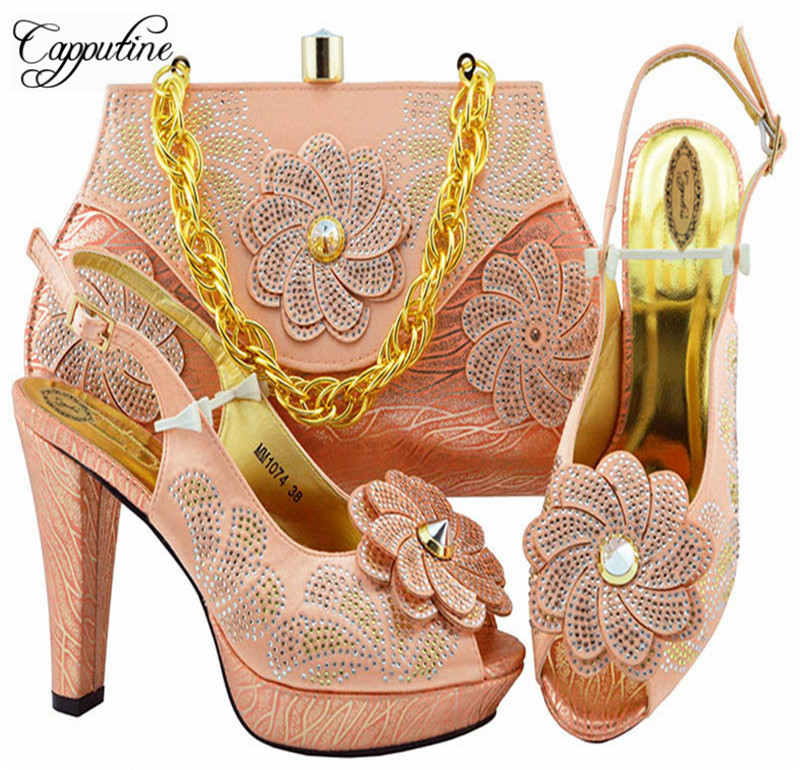 Peach Color Fashion Party Shoes And Bags To Match Set African High Heels Shoes And Bag