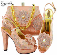 Peach Color Fashion Party Shoes And Bags To Match Set African High Heels Shoes And Bag Set Italian Shoes And Bag Set M1074