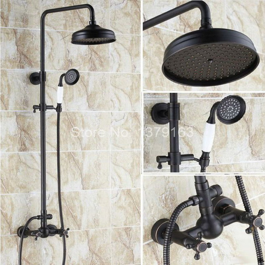 Black Oil Rubbed Bronze Wall Mounted Dual Cross Handles Bathroom Rain Shower Faucet Set + Handheld Shower ars048