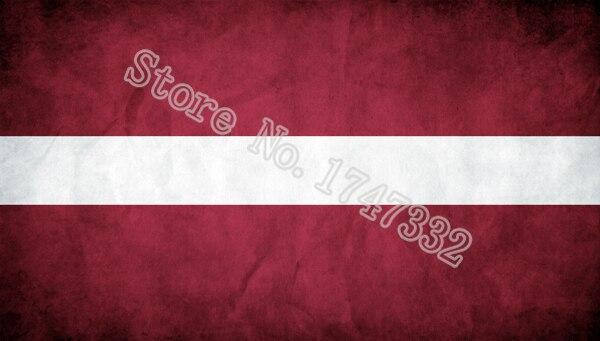 """לטביה הדגל רטרו הדגל עתיק לעשות הישן 3X5FT חורי מתכת פליז באנר Custome 150X90 ס""""מ"""