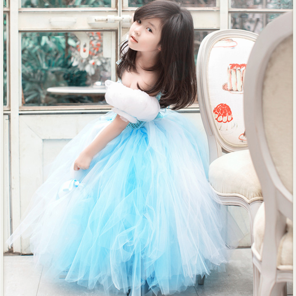 Princess Cinderella Birthday Party Dress Fancy Girl 4 Layers Fluffy Puff Slleeve Tutu Dresses Children Photograph Clothes Wear marfoli girl princess dress birthday