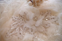 bead applique with chiffon rosette, bridal sash applique with 3D rose flower, beading wedding decors RAE003