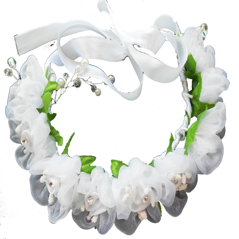 Wedding White Flower Crown: Bridal White Flower Wreath Headband Floral Crown Garland