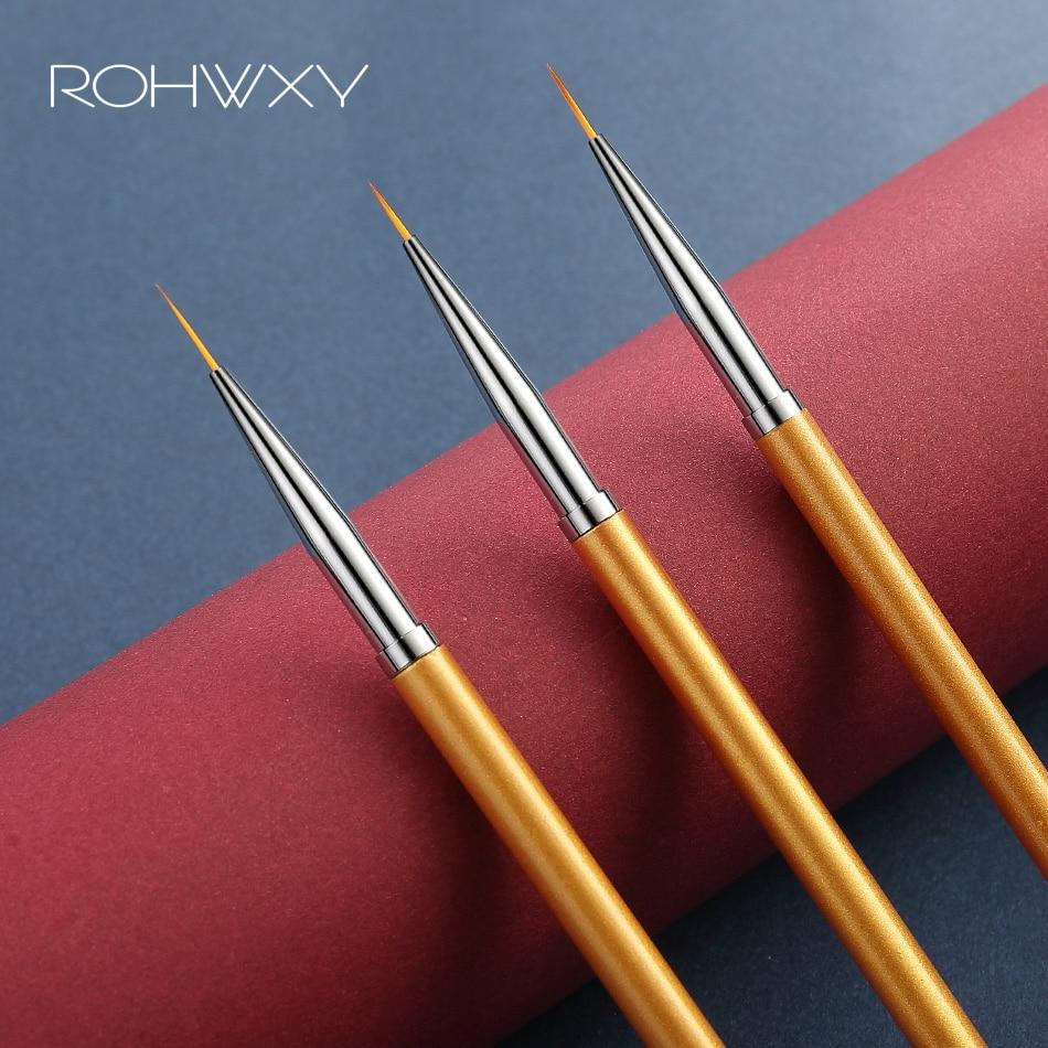 ROHWXY 3Pcs/Set Nail Brush For Manicure Thin Acrylic Brush For Nail Art Gel Brush For Nail Design Drawing UV Gel Varnish Pen
