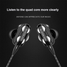 POLVCDG Dual Driver Earphone Wire volume With microphone Hifi Stereo Music Earbuds for iPhone Samsung Huawei xiaomi Headset