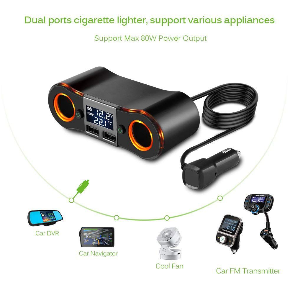 Image 4 - Socket Cigarette Lighter Splitter ZNB02 Car Charger Adapter 3.5A Dual USB Ports Support Volmeter / Temperature LED Display for-in Cigarette Lighter from Automobiles & Motorcycles