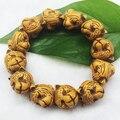 Mujeres manguito suelto tigre cuentas de madera brazalete pulseras brazalete de cuentas de Buda