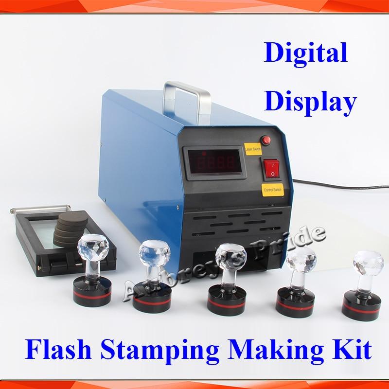 2 3Exposure Lamps Digital Display Photosensitive Flash Stamp Machine Stamping Making 10pcs Holder Film Pad 1