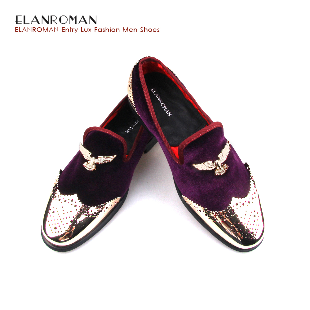 ELANROMAN Fashion formal men dress casual shoes party and wedding handmade loafers mens velvet flats Boat loafer shoe slip on