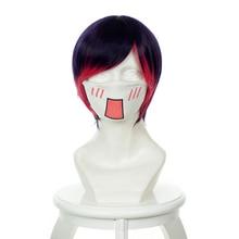 Yuri Kuma Arashi Cosplay Ginko Yurishiro 35cm/13.8 Short Purple Red Straight Hair Costume Wig 352A