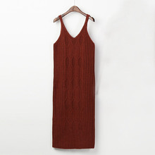 2018 Spring and Autumn women's new fashion yak cashmere sling knitted dress camisole dress 105