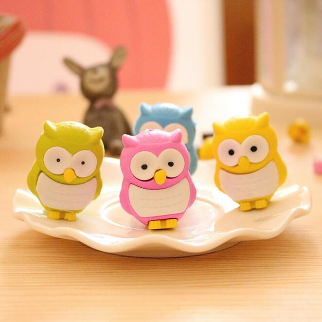 2pcs/lot Kawaii 3D Owl Design Non-toxic Eraser Students' Gift Prize Children's Educational Toys Office School Supplies