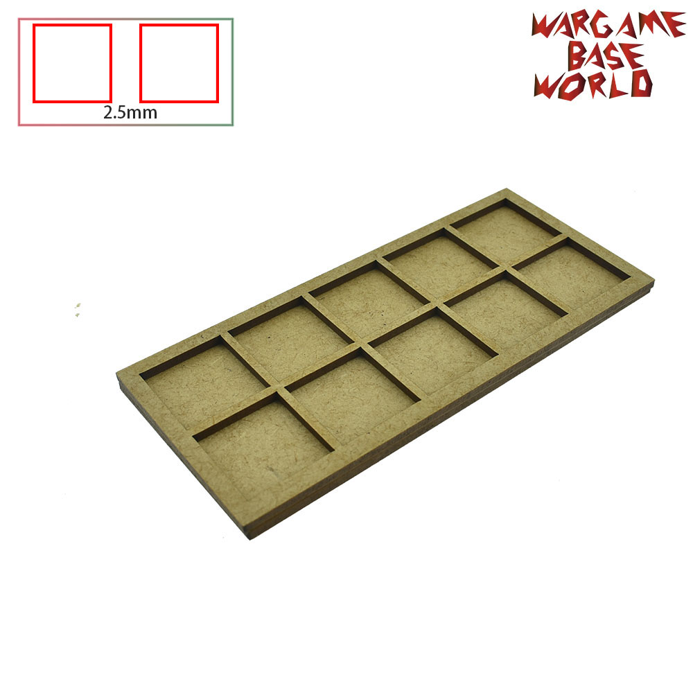 Wargame Base World - Movement Tray -10/15/20 25mm Square Bases  - MDF Laser Cut