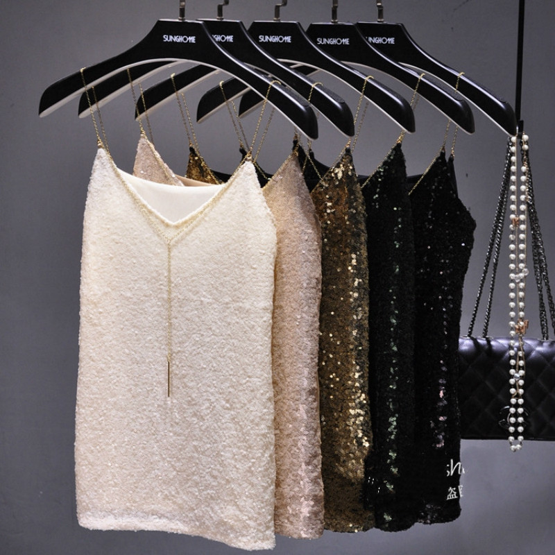 Sexy Clubs Women Sequined Camis V-Neck Tank Tops Shiny Vest Stage Show Gold Chain Spaghetti Camisole Beading Party Tops