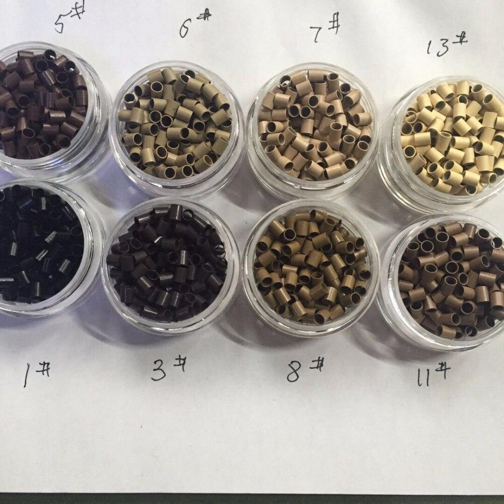 5000 pièces Micro-anneau en cuivre droit 322838mm Mini anneau de verrouillage perles en cuivre brun Tube Micro-lien anneaux doublés pour Extensions de cheveux